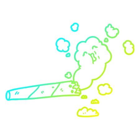 cold gradient line drawing of a cartoon smoking cigarette Banque d'images - 129431073