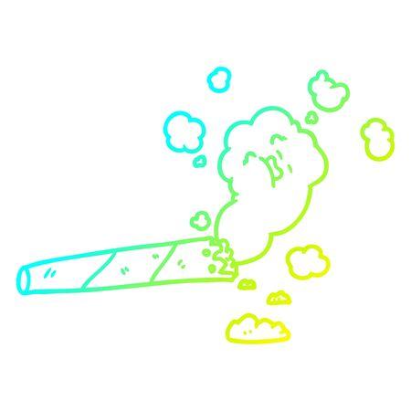 cold gradient line drawing of a cartoon smoking cigarette Standard-Bild - 129431073