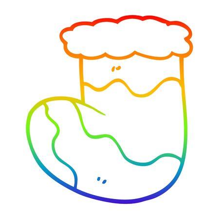 rainbow gradient line drawing of a cartoon christmas stocking