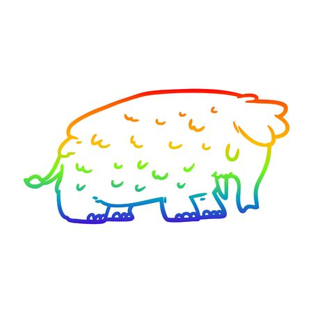 rainbow gradient line drawing of a cartoon mammoth Ilustração