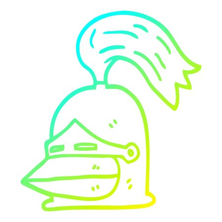 cold gradient line drawing of a cartoon knight helmet 向量圖像
