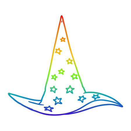 rainbow gradient line drawing of a cartoon wizard hat Foto de archivo - 129431084