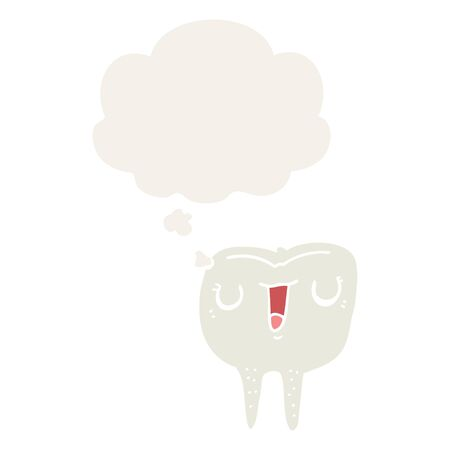 cartoon happy tooth with thought bubble in retro style
