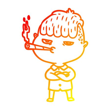 warm gradient line drawing of a cartoon man smoking Stockfoto - 129431085