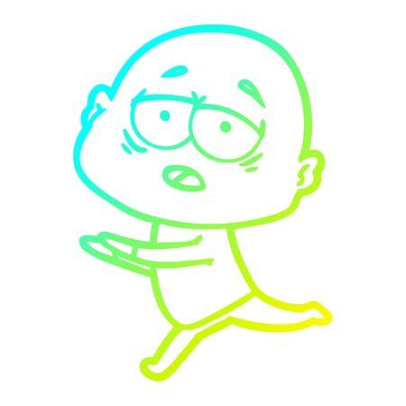 cold gradient line drawing of a cartoon tired bald man Иллюстрация