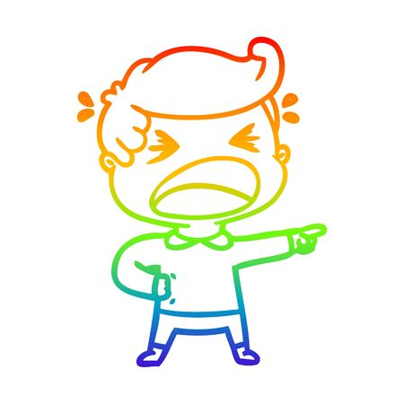rainbow gradient line drawing of a cartoon shouting man pointing finger