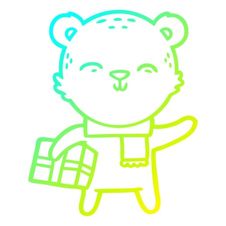 cold gradient line drawing of a happy cartoon bear with present