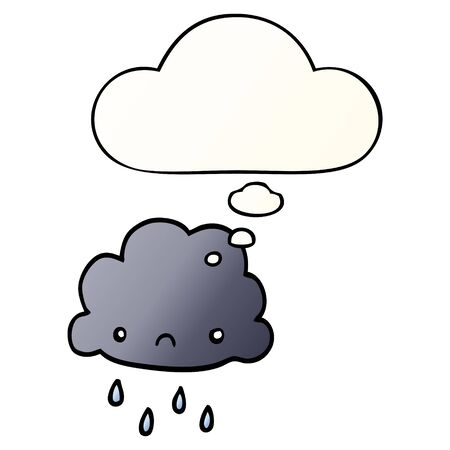cartoon storm cloud with thought bubble in smooth gradient style