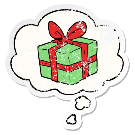 cartoon wrapped gift with thought bubble as a distressed worn sticker Çizim