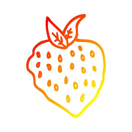 warm gradient line drawing of a cartoon strawberry Иллюстрация