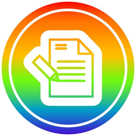 writing document circular icon with rainbow gradient finish Ilustracja