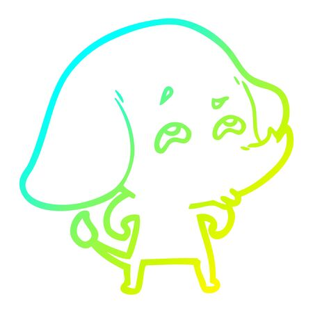 cold gradient line drawing of a cartoon elephant remembering Çizim