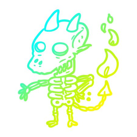 cold gradient line drawing of a spooky skeleton demon