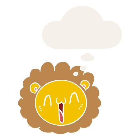 cartoon lion face with thought bubble in retro style