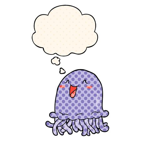 cartoon jellyfish with thought bubble in comic book style