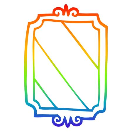 rainbow gradient line drawing of a cartoon mirror