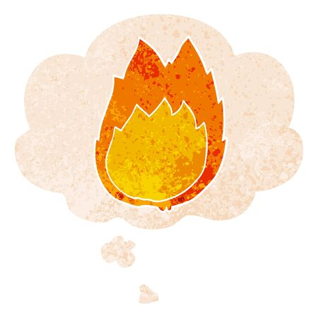 cartoon flames with thought bubble in grunge distressed retro textured style
