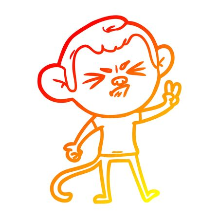 warm gradient line drawing of a cartoon angry monkey