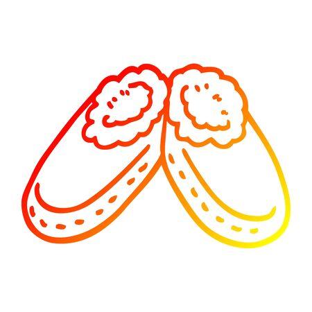 warm gradient line drawing of a cartoon purple slippers Illustration