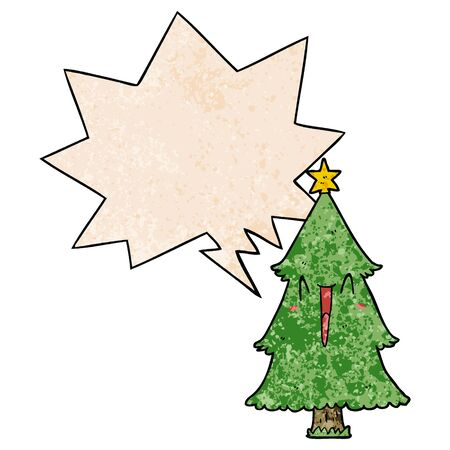 cartoon christmas tree with speech bubble in retro texture style