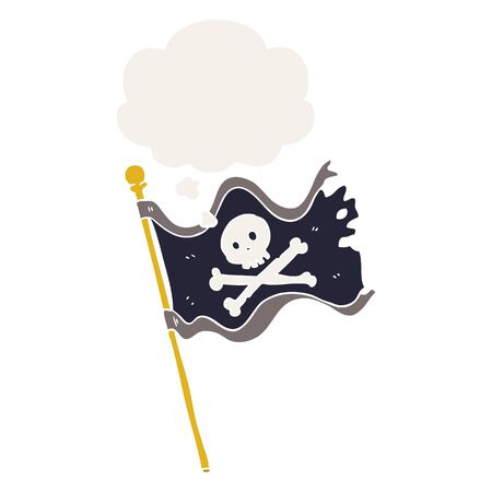 cartoon pirate flag with thought bubble in retro style