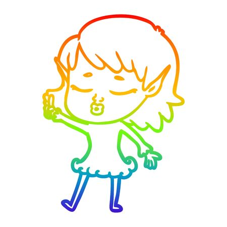 rainbow gradient line drawing of a pretty cartoon elf girl with question