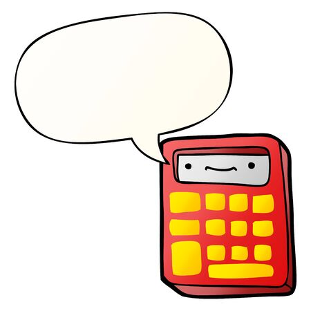 cartoon calculator with speech bubble in smooth gradient style