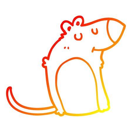 warm gradient line drawing of a cartoon fat rat  イラスト・ベクター素材