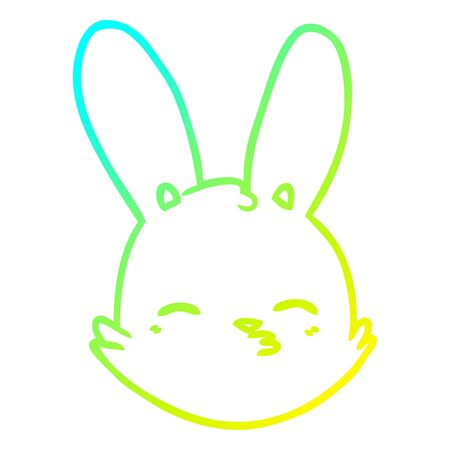 cold gradient line drawing of a cartoon bunny face considering Çizim