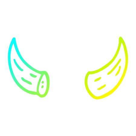 cold gradient line drawing of a cartoon horns