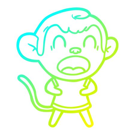 cold gradient line drawing of a shouting cartoon monkey