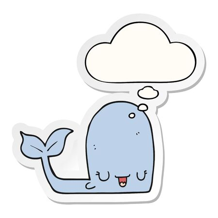 cartoon happy whale with thought bubble as a printed sticker