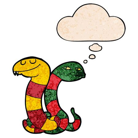 cartoon snakes with thought bubble in grunge texture style