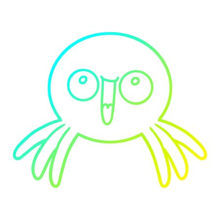 cold gradient line drawing of a happy cartoon spider