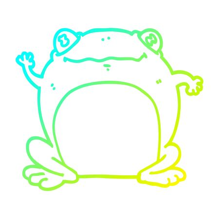 cold gradient line drawing of a cartoon frog  イラスト・ベクター素材
