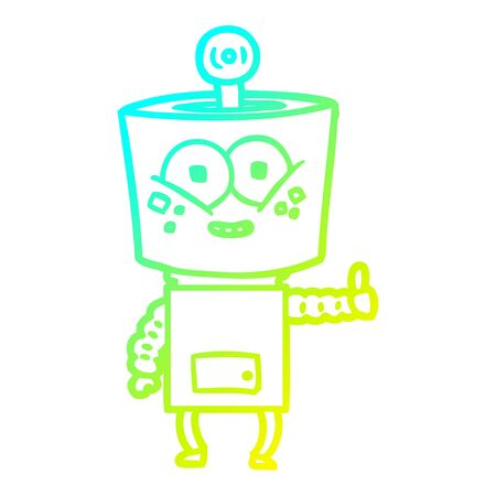 cold gradient line drawing of a happy cartoon robot giving thumbs up