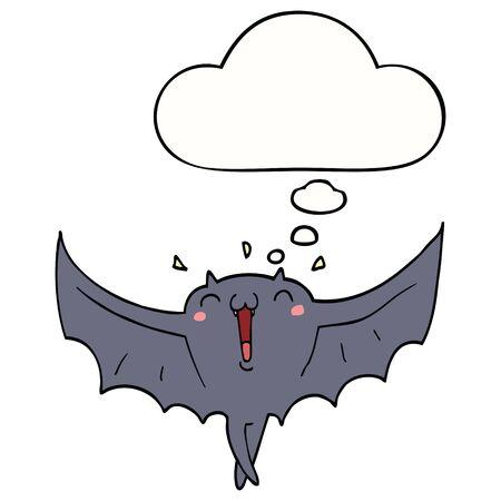 cartoon happy vampire bat with thought bubble Çizim
