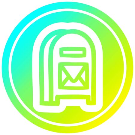 mail box circular icon with cool gradient finish