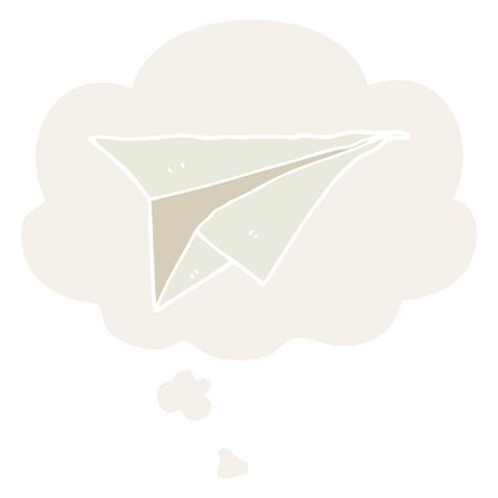 cartoon paper airplane with thought bubble in retro style Foto de archivo - 129432817