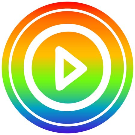 play button circular icon with rainbow gradient finish