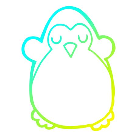 cold gradient line drawing of a cartoon penguin