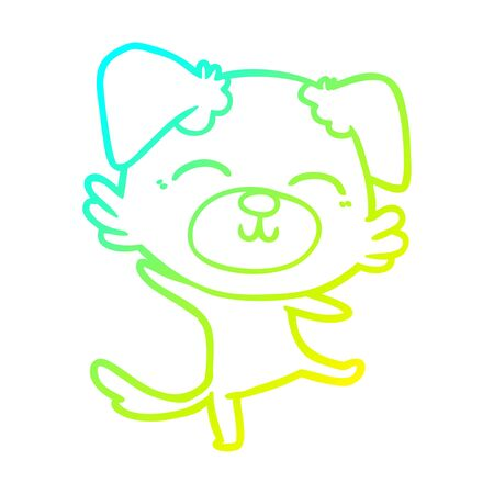cold gradient line drawing of a cartoon dog doing a happy dance