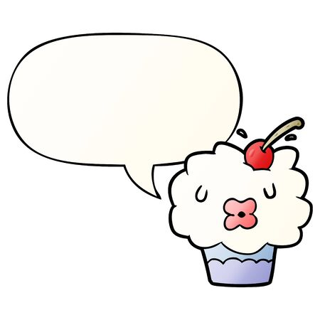 funny cartoon cupcake with speech bubble in smooth gradient style