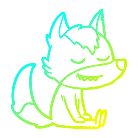 cold gradient line drawing of a friendly cartoon wolf sitting down
