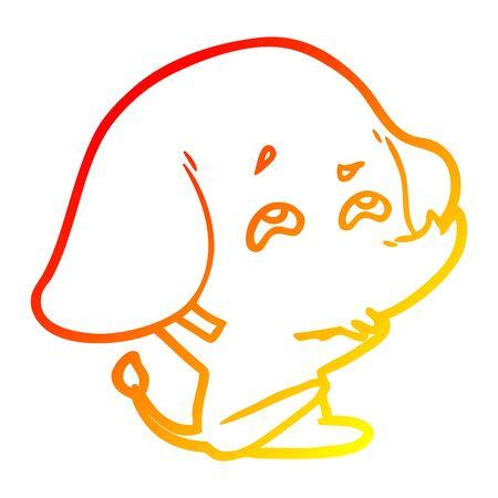 warm gradient line drawing of a cartoon elephant remembering Stock Illustratie
