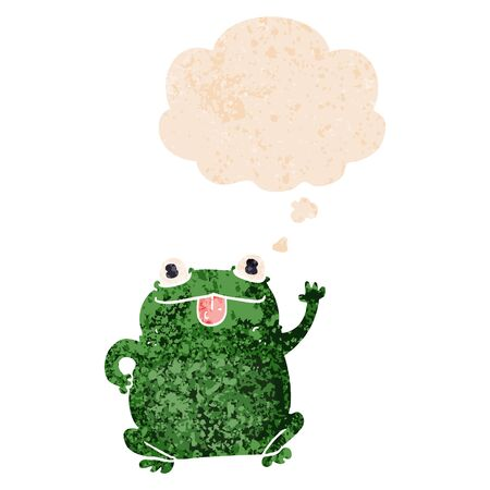 cartoon frog with thought bubble in grunge distressed retro textured style  イラスト・ベクター素材