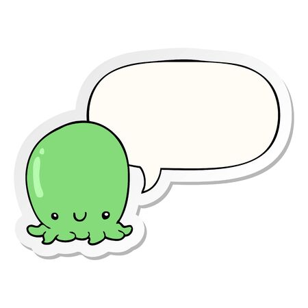 cute cartoon octopus with speech bubble sticker