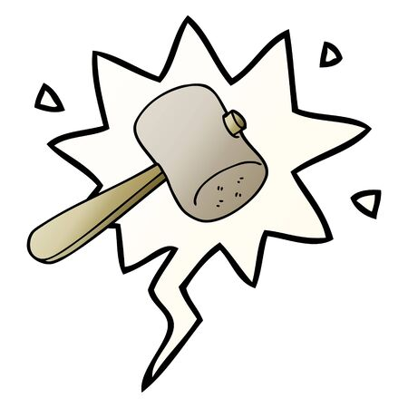 cartoon mallet with speech bubble in smooth gradient style