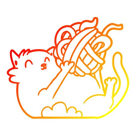 warm gradient line drawing of a cartoon cat playing with ball of string