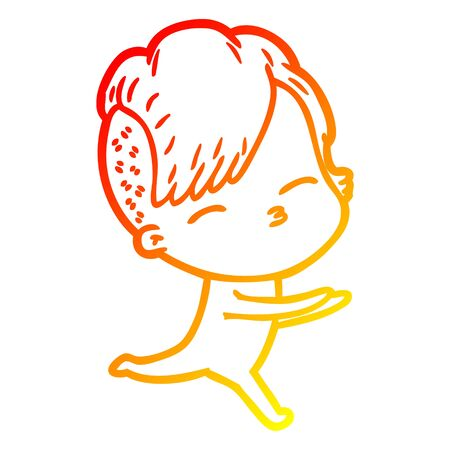 warm gradient line drawing of a cartoon girl